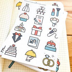 Stickers Mariage en couleurs! Planche de 15 stickers.