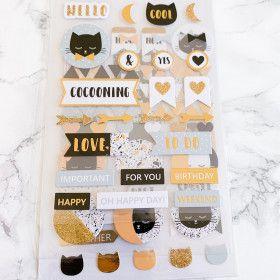99 Embellissements / stickers cartonnés Chat avec Foil Or