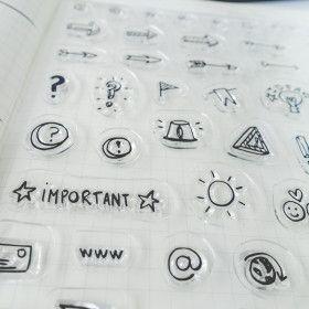 Clear stamps Icônes spécial Bullet Journal (météo, flèches ...)