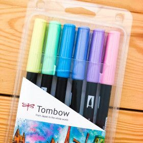 6 Feutres Tombow ABT Dual Brush - Couleurs Pastel