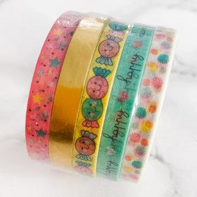 Washi Tape 25 mètres dorés - Happy Days