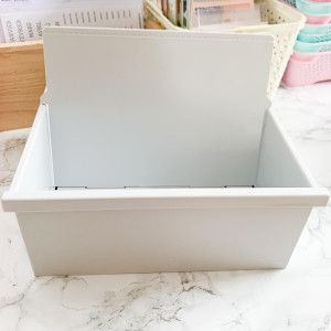 Boîte à fiches A5 - plastique gris clair
