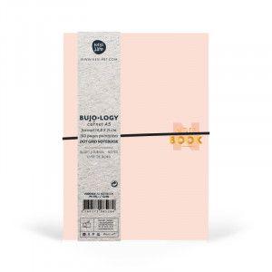 Carnet pointillés, format A5, pages DOTS, papier blanc / rose poudre