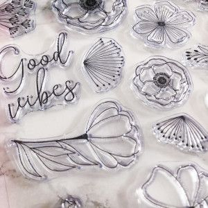 Clear Stamps - Good Vibes, fleurs, citation