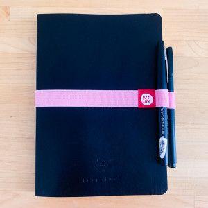 Elastique porte-stylo rose pour carnet A5 / A4 / A6