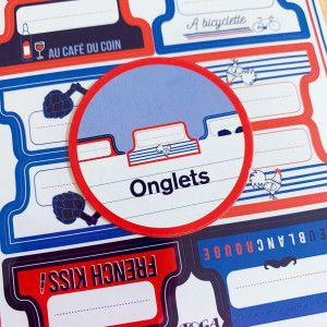 24 Stickers Onglets Frenchy, bleu blanc rouge
