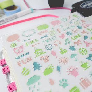 pochoir plastique souple icones