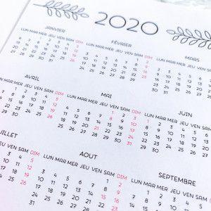 Sticker Calendrier 2020 / annuel  (pleine page) / sans serif