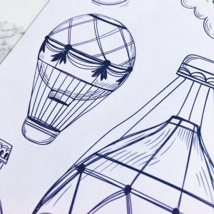 Planche de stickers Montgolfières à colorier pour Bullet Journal