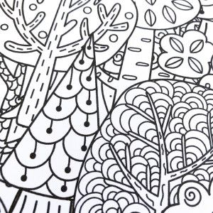 Sticker Pleine Page - Coloriage relaxant Forêt
