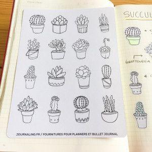 16 stickers Succulentes