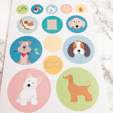168 stickers ronds - Chiens