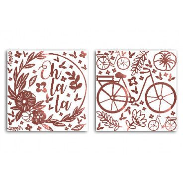 70 Stickers peel off or rose métallisé Oh La La