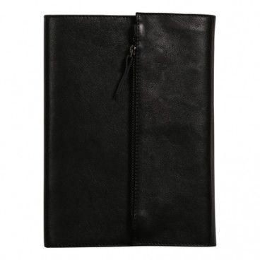 Couverture cuir pour carnet A5 Noir + carnet