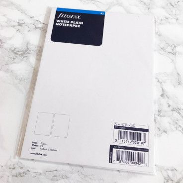 Recharge vierge / pages blanches A5 Filofax