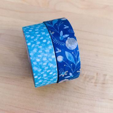 Washi Tape 10 mètres - Jardin d'hiver bleu