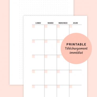 printable calendrier mois