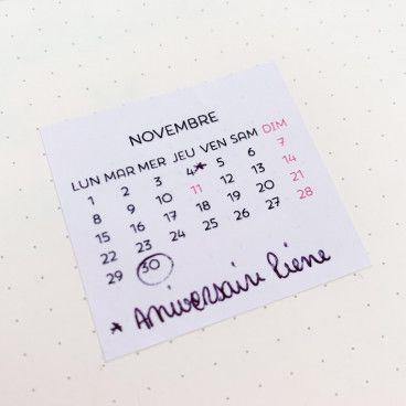 sticker calendrier mensuel bullet journal 2021