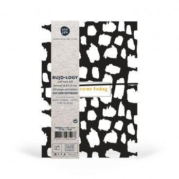 Carnet pointillés, format A5, pages DOTS, papier blanc / noir et blanc