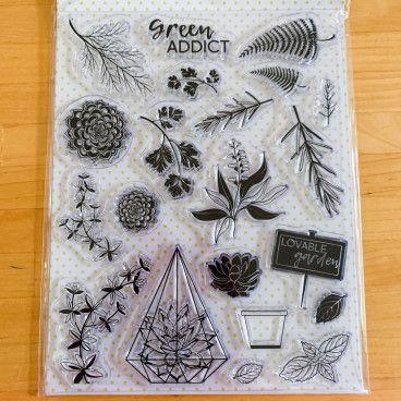 20 Clear Stamps motif végétal