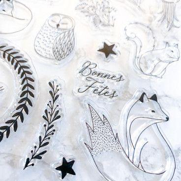 Clear stamps Fêtes de fin d'année, renards, écureuil ...