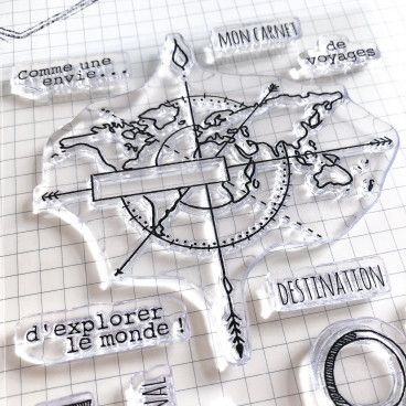 Clear Stamps Carte du monde, Voyage, Vacances ...