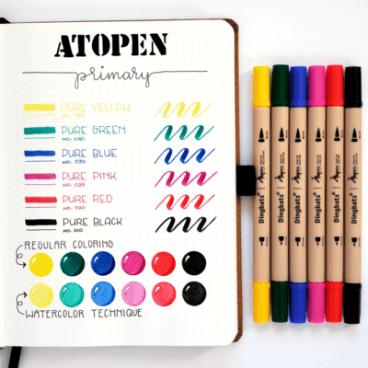 Dingbats* Ātopen, 6 feutres brush - couleurs primaires