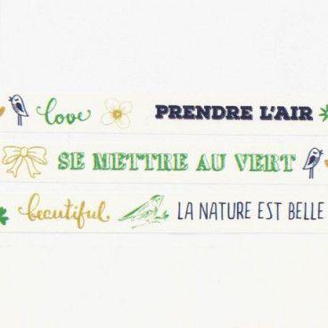 Washi Tape La Nature est belle (mots) - 10 mètres
