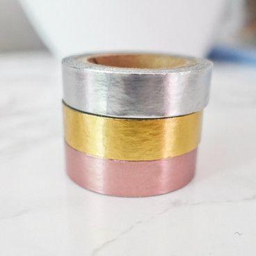 Masking tape 3 couleurs métalliques: or rose, or, argent