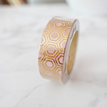 Masking Tape Hexagone Or sur fond rose