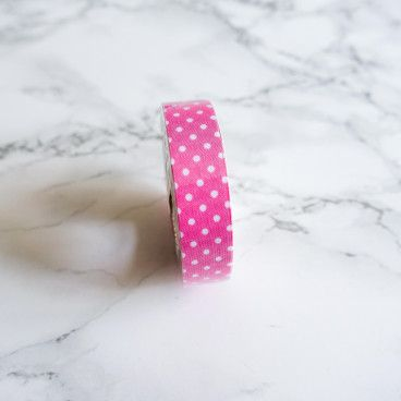 Washi Tape en LIN - Rose à pois blancs