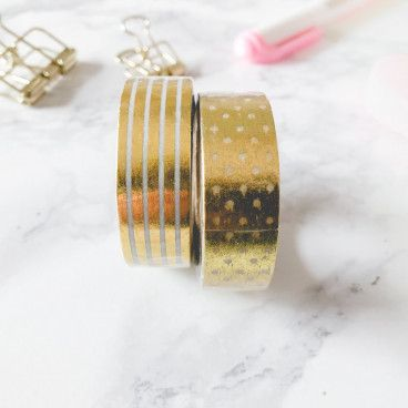 washi tape rayures et petits pois or