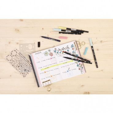 Kit My Creative Journal pour Bullet Journal: carnet Dots + set de pochoirs / décalcomanies