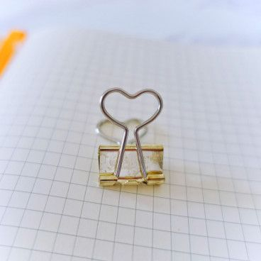 Pinces clips Or, motif Coeur