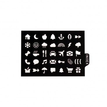 Pochoir pour BUJO® - Symboles: météo, fruits, email, cadeau, photo ...