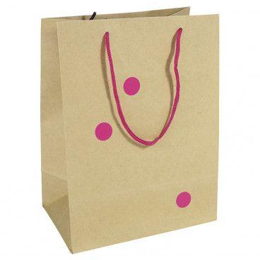 sac pochette cadeau kraft et pois rose