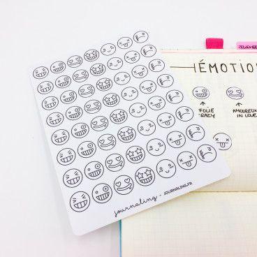 Stickers minimalistes: Smileys à colorier