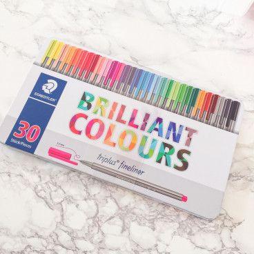 Triplus FineLiner - Brilliant Colours, boîte métal de 30