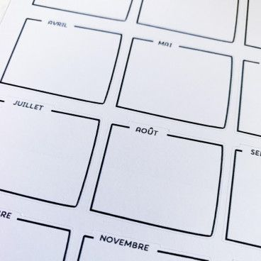 Planche de 15 stickers cadres mensuels