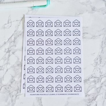 48 Stickers Enveloppe à coeur