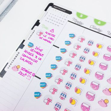 Stickers pour planner: les reines du shopping