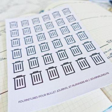 Stickers bujo ménage poubelles