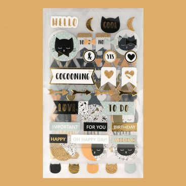 99 Embellissements / stickers cartonnés Chat avec Foil Or