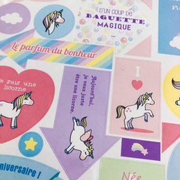 stickers licornes texte